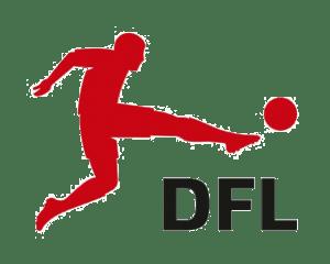 """Logo DFL: Bild einer männlichen Person in rot gezeichent, schießt einen schwarzen Ball. Rechts darunter steht """"DFL"""" in schwarzen Buchstaben."""