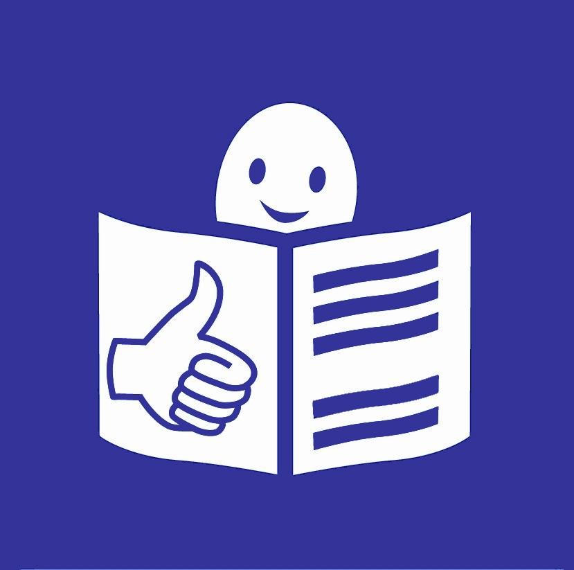 Zeichen für Leichte Sprache. Blauer Hintergrund. Vorne eine gemalte weiße Person mit einem Buch und Daumen hoch.