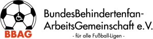 Logo BBAG: Links ein Fußball mit einem Rollstuhlsymbol in der Mitte, darunter oranger Schriftzug BBAG, rechts daneben Schriftzug: Bundesbehindertenfanarbeitsgemeinschaft e.V. für alle Fußball-Ligen. Link zur Website http://www.bbag-online.de/