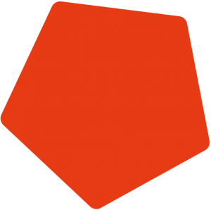 Kleines, oranges Fünfeck zur Dekoration.