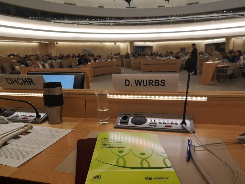 UN Social Forum 2018 Rednerpult Daniela Wurbs