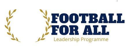 Football for all Logo: Schriftzug Football for all in blau, darunter goldener Schriftzug: Leadership Program