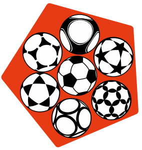 Dekoration: oranges Fünfeck, innen mit 7 verschiedenen Bällen.