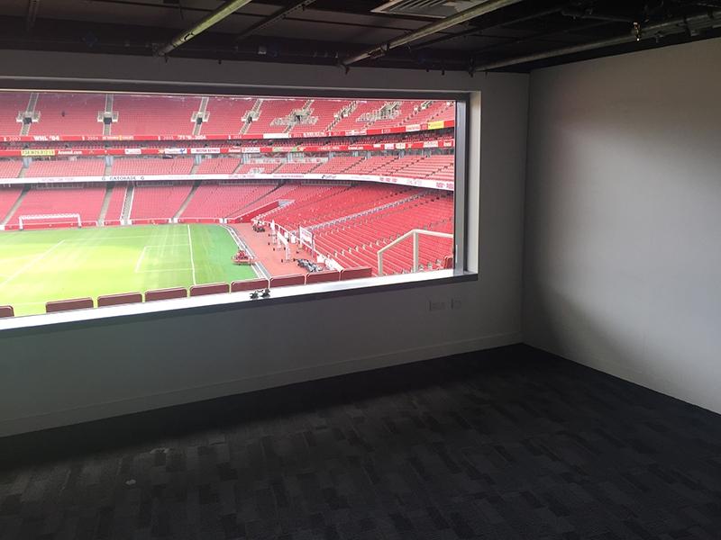 Arsenal London Blick aus Aufenthaltsraum