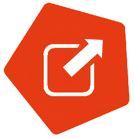 Link zu https://inklusion-fussball.de/nuetzliche-links. Oranges Fünfeck, innen mit weißem Symbol für externe Links-Viereck mit Pfeil nach oben rechts.