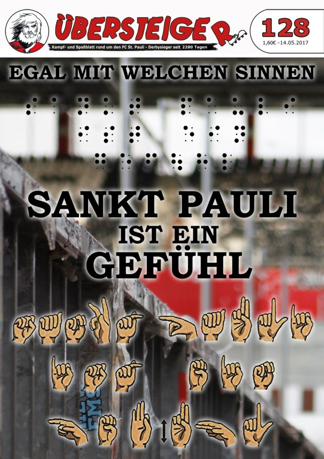 Cover des Fanmagazins der Übersteiger mit Brailleschrift und Gebärdensprache
