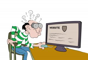 ein älterer Mensch mit dicker Brille guckt auf einen Bildschirm mit einer Webseite. Er versteht den Inhalt nicht.