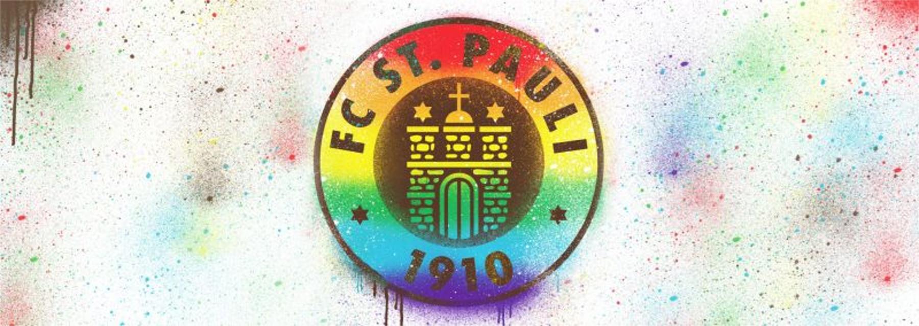 Logo St. Pauli in Regenbogenfarben. Das Logo ist rund. In der Mitte ist die Kirche Michel. Rundherum der Schriftzug: FC St. Pauli 1910