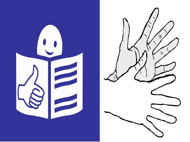 Zeichen für Leichte Sprache und Gebärdensprache
