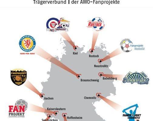 11 Standorte der AWO Fanprojekte: Kiel, Rostock, Neustrelitz, Babelsberg, Braunschweig, Chemnitz, München, Hoffenheim, Kaiserslautern, Saarbrücken, Aachen
