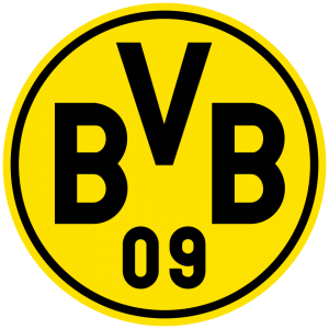 Logo Borussia Dortmund. Kreis mit schwarzem Rand, gelber Füllung und schwarzem Schriftzug: oben: BVB, unten: 09