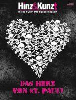 dunkler Hintergrund, davor Herz aus weißen Totenköpfen, oben Schriftzug in weiß und pink: Hinz & Kunzt - Inside FCSP das Sondermagazin, unter dem Herz Schriftzug in lila: Das Herz von St. Pauli