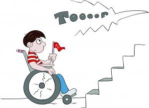 ein Rollstuhlfahrer in Fankleidung, mit einer Fahne in der Hand steht mit seinem Rollstuhl vor einer Stadiontreppe und kann nicht sehen, dass ein Tor fällt.