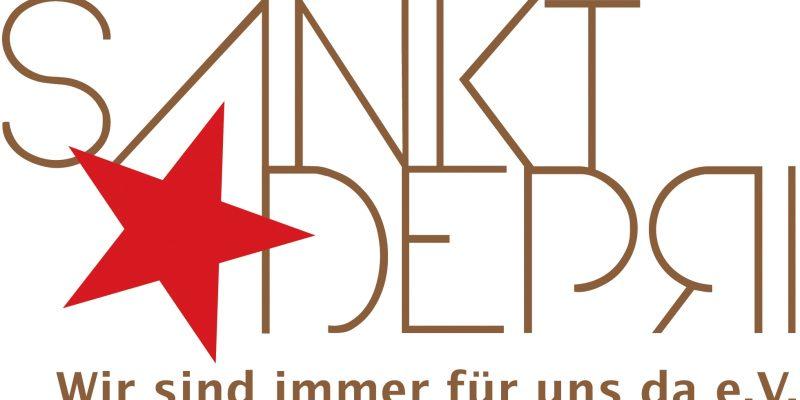 """Das Logo der Faninitiative St. Depri. Das Wort """"Sankt"""" in brauner Schrift. Darunter ein roter Stern. Neben diesem das Wort """"Depri"""","""