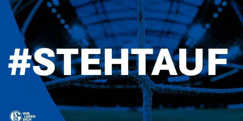 """In weißen Buchstaben steht vor einem blauenDas Logo der """"Steh auf""""-Kampagne. Hintergrund """"Steh auf""""."""