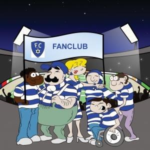 Fanclub vor Stadionhintergrund - gezeichnet. Unterschiedliche Menschen in gleicher Trikotfarbe mit einer Fanclub-Fahne.