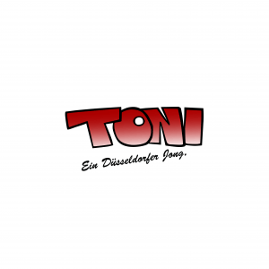 Schriftzug: TONI in rot und groß, darunter steht: Ein Düsseldorfer Jong in kleinerer, schwarzer Schrift.