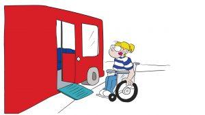 Bus mit einer Rampe. Eine Rollstuhlfahrerin steht mit dem Rollstuhl vor der Rampe