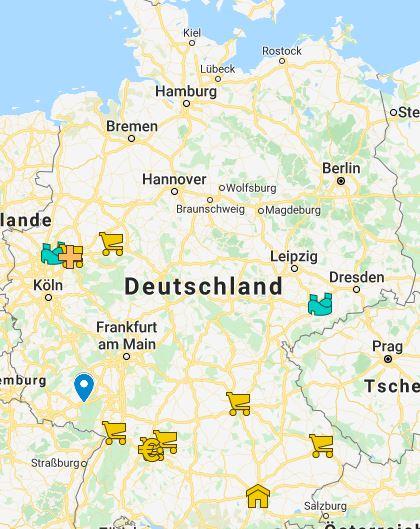 Bild einer Deutschlandkarte mit bereits markierten Hilfsangeboten