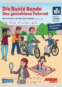 Buch die Bunte Bande: Es zeigt sechs Kinder, die verschiedene Tätigkeiten ausführen, z.B. prostet ein Junge im Rollstuh einem anderen Jungen zu. Ein Mädchen sitzt auf einer Picknickdecke, ein Junge hat ein Fahrrad. Die Schrift ist rot. Auf dem Buch steht außerdem: Auch in Leichter Sprache - barrierefrei und inklusiv