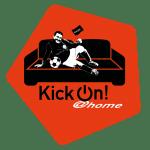 """Hintergrund: orangenes Fünfeck. In schwarz-weiß posiert ein männlicher Fußballspieler mit Fußball auf einem Sofa und hält eine Fahne mit der Aufschrift """"KickOn at home"""" in der Hand. Darunter ein Schriftzug in schwarz-weiß: Kick On! at home"""