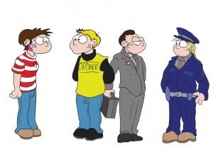 Vier Personen: Ein weiblicher Fan mit rot-weiß gestreiftem Oberteil, ein Ordner mit gelbem Leibchen, ein Mann im Anzug und eine Polizistin. Sie sind im Gespräch miteinander.