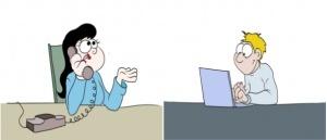 zwei Personen sitzen an einem Tisch. Die Frau telefoniert. Der Mann schreibt etwas auf dem Laptop.