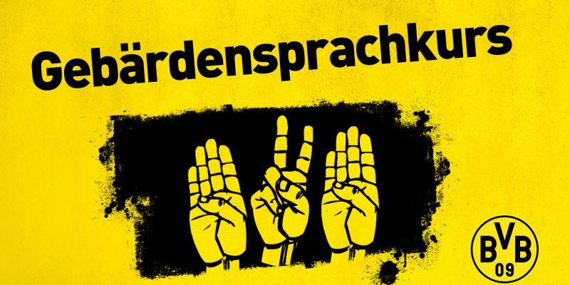Text Gebärdensprachekurs, darunter Handzeichen für BVB in Gebärdensprache. Das gesamte Bild ist schwarz-gelb.