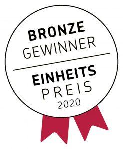 Bronze-Gewinner Einheitspreis 2020-Schriftzug in kreisrundem Logo