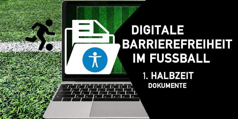 Laptop mit Zeichen für Barrierefreiheit, im schwarzen Fünfeck steht nochmal die Überschrift zur Schulung. Hintergrund Fußballrasen.