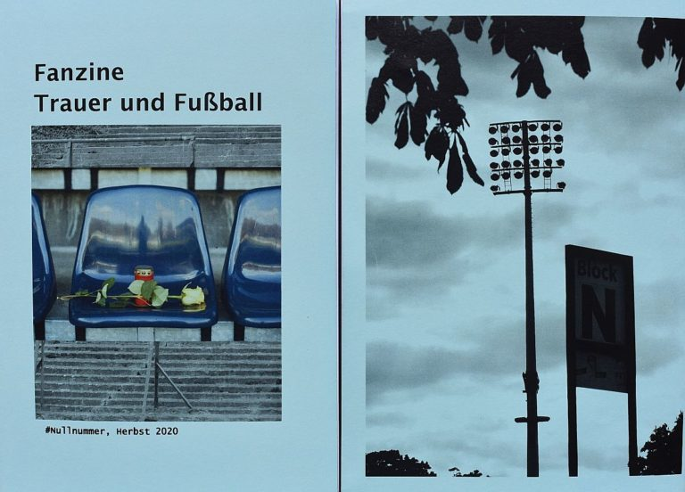 Deckblatt und Rückseite des Magazins: Deckblatt: Überschrift Fanzine Fußball und Trauer, darunter Sitzschale im Stadion mit einer Grabkerze und einer Rose. Rückseite: Flutlichtmast