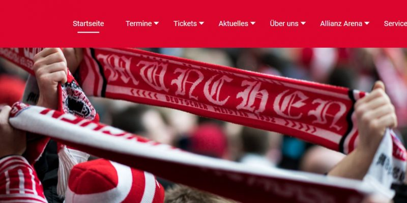Screenshot der neuen Webseite des Rollwagerl 93 eV-Fanclubs. Auf de Foto sind FC Bayern-Fans mit Schals zu sehen.