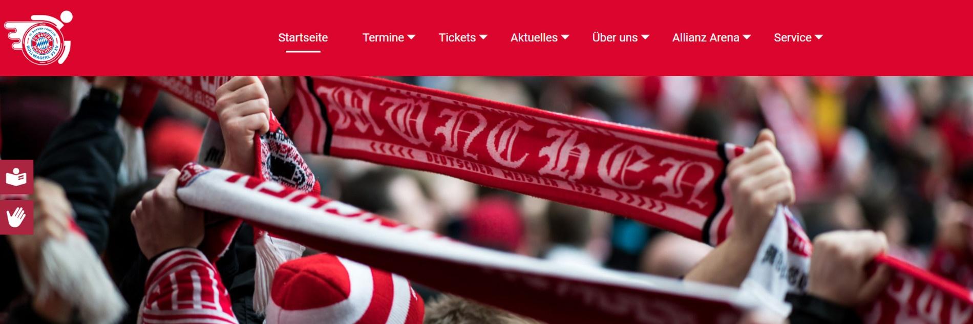Screenshot der neuen Webseite des Rollwagerl 93 eV-Fanclubs. Auf dem Foto sind FC Bayern-Fans mit Schals zu sehen.