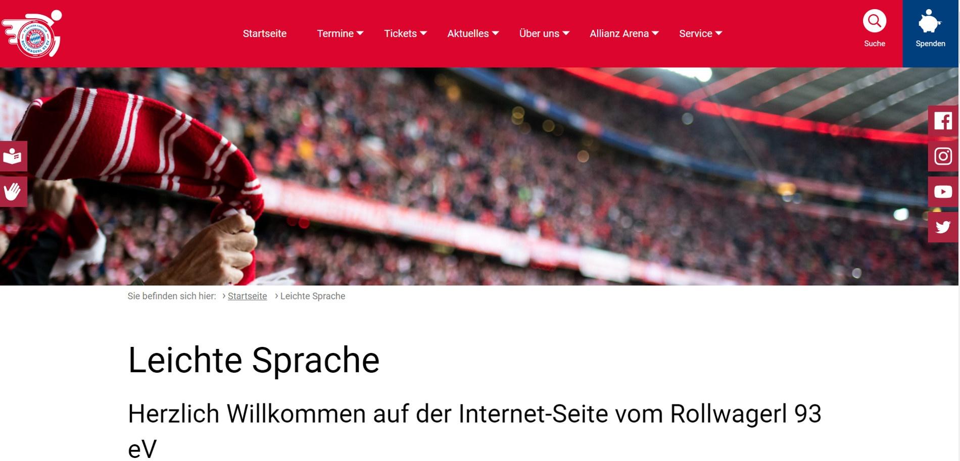 Screenshot der neuen Webseite des Rollwagerl 93 e.V. in leichter Sprache.