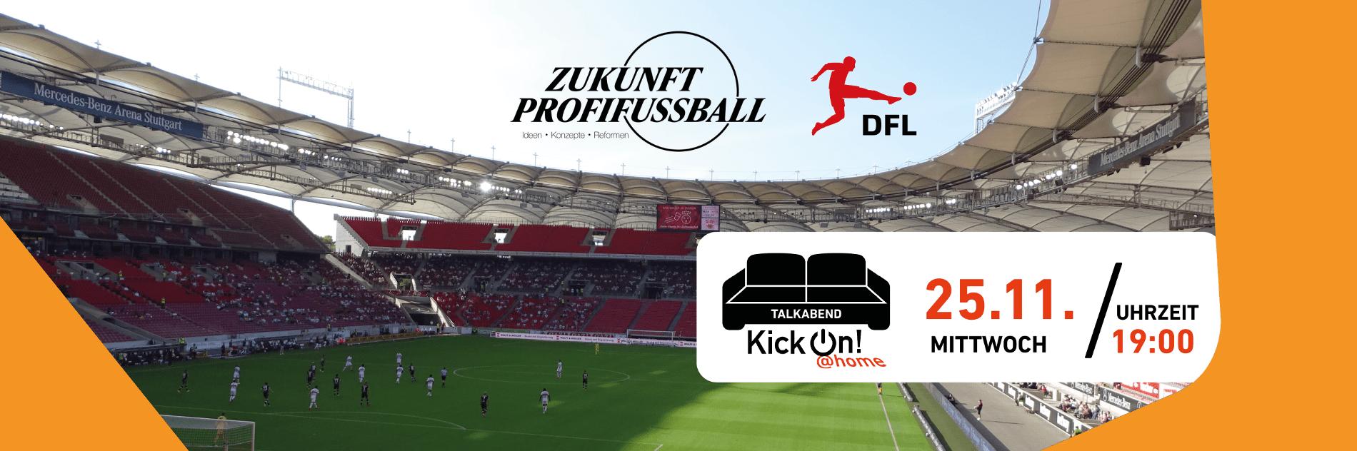 Stadion mit wegen der Corona-Pandemie nur teilweise gefüllten Rängen vor den Logos von Zukunft Profifußball und der DFL.