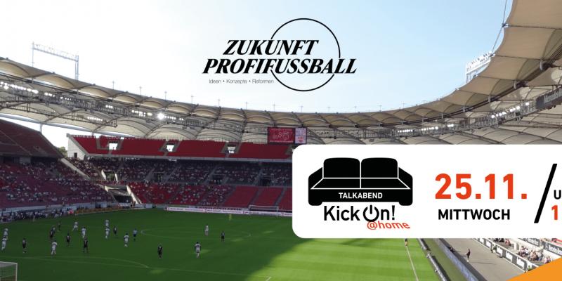 Stadion mit wegen der Corona-Pandemie nur teilweise gefüllten Rängen vor dem Logo von Zukunft Profifußball.