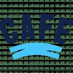 Logo und Link zur Webseite von CAFE. Dunkeblauber Schriftzug, darunter hellblaue Streifen