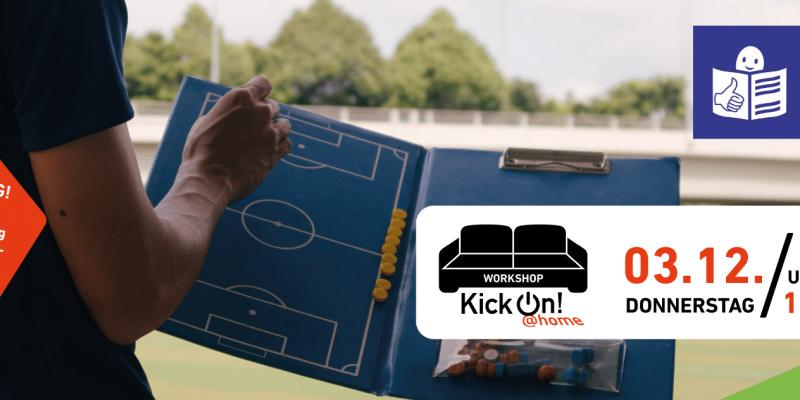 Fußballer hält geöffnete Taktiktafel in der Hand. Rechts oben ist dazu das Leichte Sprache-Logo zu sehen und in einem weißen Kasten rechts unten gibt es die Termininfos der Veranstaltung.
