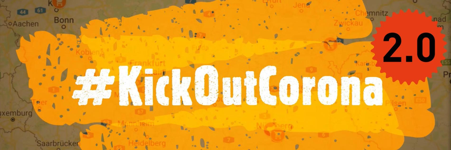 Ein Auschnitt einer Deutschlandkarte auf dem in weißen Lettern #KickOutCorona steht.