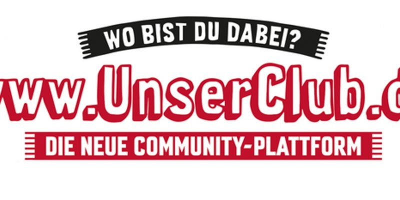 """""""Wo bist du dabei?"""", """"www.UnserClub.de"""" und """"Die Neue Community-Plattform""""-Schriftzug"""" im Design eines bedruckten Schals als weißem Hintergrund."""