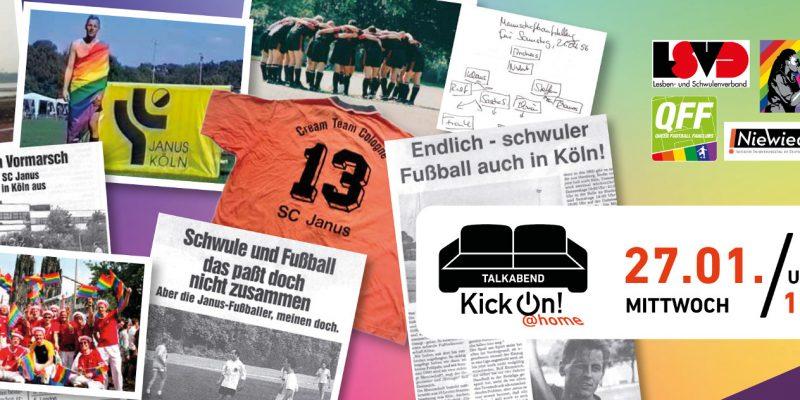 Collage aus Zeitungsartikeln, Fotos und Gegenständen aus 40 Jahren queerer Sporthistorie.