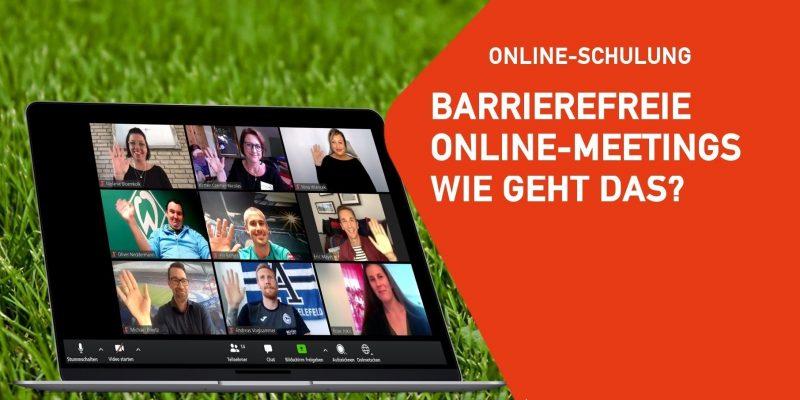 Artikelbild: Hintergrund Rasen, links ein Bildschirm mit mehreren Teilnehmer*innen eines Online Meetings. Daneben ein orangener Infokasten: Online Schulung, Barrierefreie Online-Meetings - wie geht das?