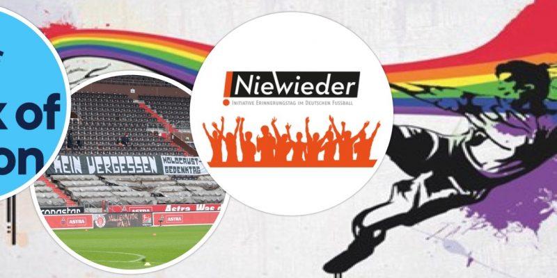Collage aus den NieWieder- und CAFE-Aktionswochen Logos sowie von Spruchbändern von Fans.