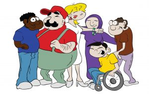 Verschiedene Personen in einer Gruppe. Von links nach rechts: Ein dunkelhäutiger Mann mit blauer Kleidung, ein dickerer Mann mit roter Kleidung, eine geschminkte blonde Frau, eine Frau mit Kopftuch in lila Kleidung, ein junger Fan im Rollstuhl mit gelber Kleidung, ein älterer Mann, trägt eine dicke Brille, mit brauner Kleidung.