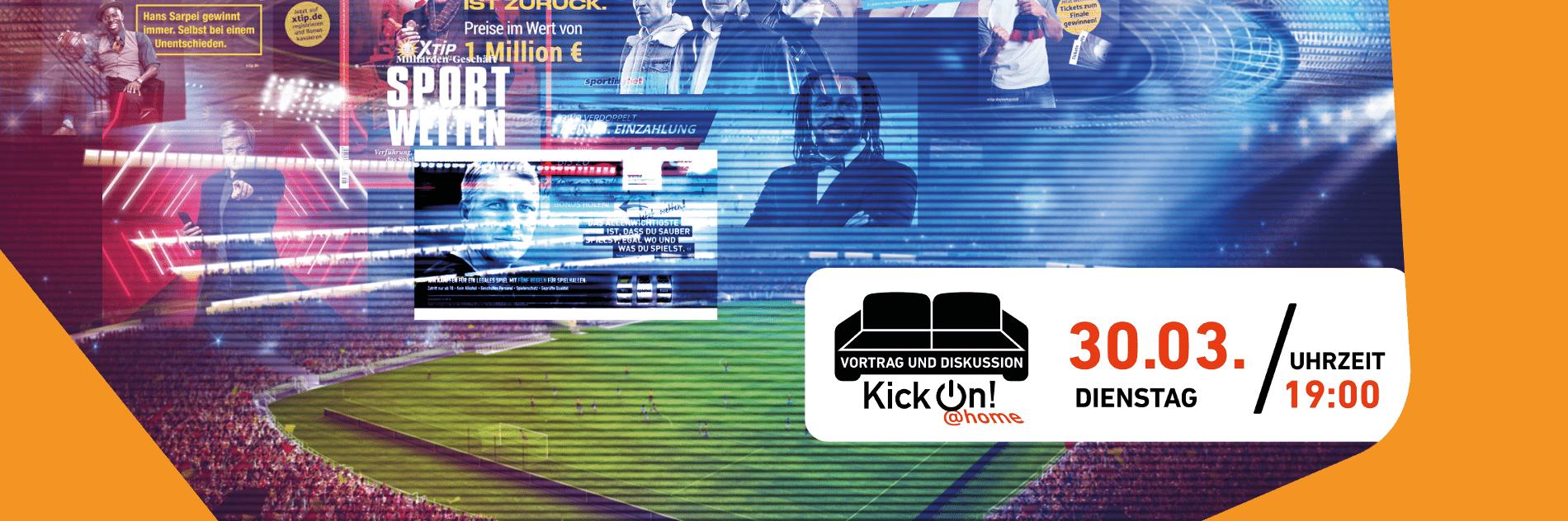 Collage mit Sportwetten-Werbung. Im Hintergrund ein Fußballspiel in einem gefüllten Stadion.