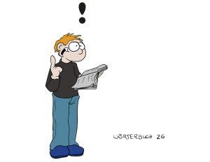 Mann mit blau-schwarzer Kleidung hält ein aufgeklapptes Buch in der Hand und hebt den rechten Zeigefinger. Über dem Mann ist eine Ausrufezeichen.