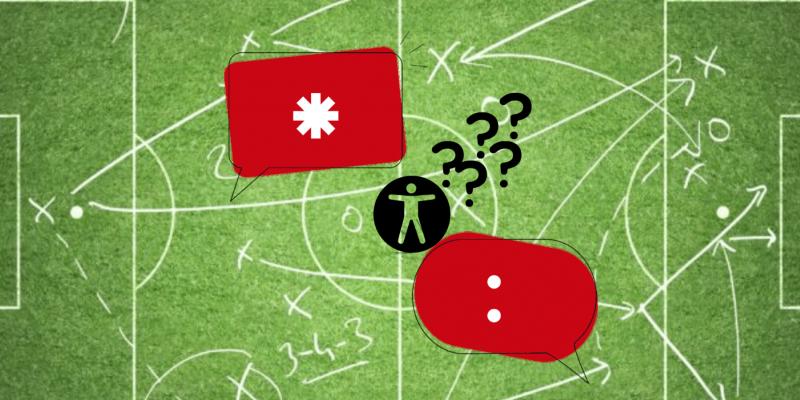 Eine Fußball-Taktiktafel im Hintergrund. Davor sind zwei Sprechblasen mit Genderstern und Doppelpunkt. In der Mitte befindet sich ein Zeichen für Barrierefreiheit samt mehrerer Fragezeichen.