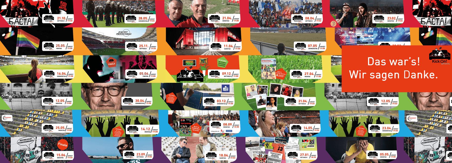 """Collage aus den Grafiken zu allen 28 KickOn@Home-Veranstaltungen. Die Grafiken wurden farblich so sortiert, dass sich ein Regenbogen ergibt. Über den Grafiken ist ein """"Das war's! Wir sagen Danke!""""-Schriftzug zu lesen."""