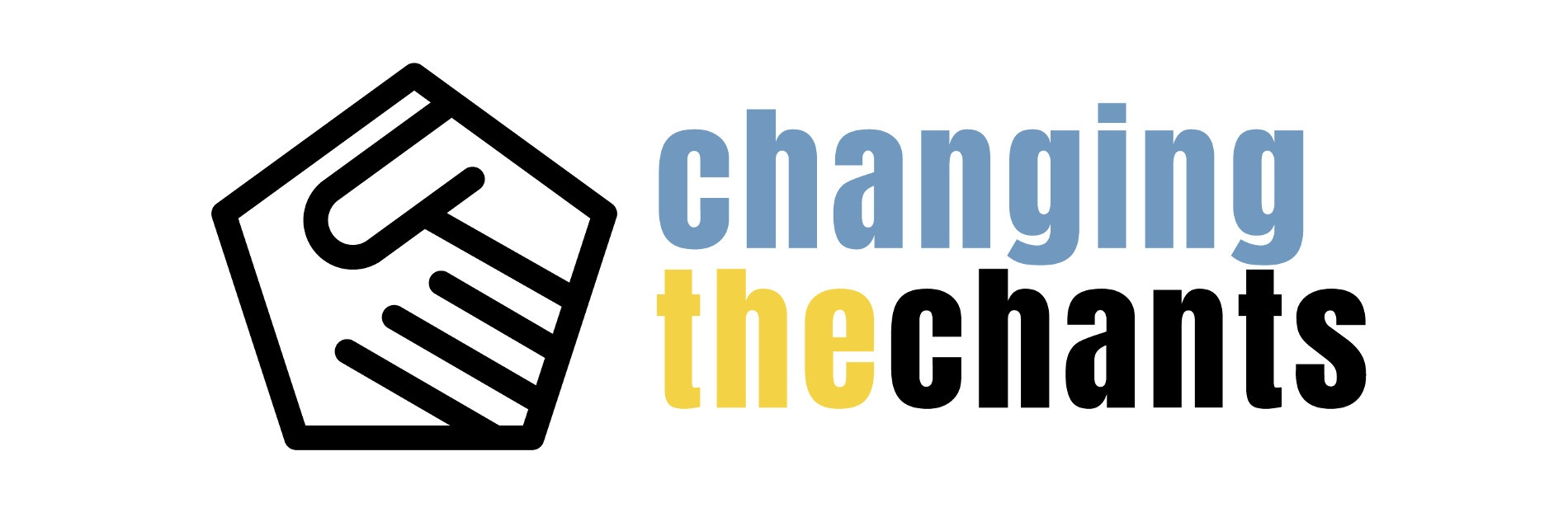 """Changing the Chants-Logo bestehend aus zwei Händen, die sich berühren, einem blauen """"changing"""", einem gelben """"the"""" und einem schwarzen """"chants""""-Schriftzug."""