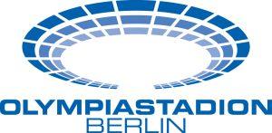 Logo Olympiastadion Berlin - angedeutetes Stadion in blau, kreisförmig, darunter steht Olympiastadion Berlin als blauer Schriftzug